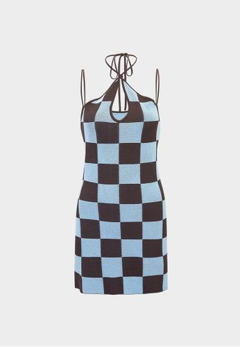 Pomelo brown Checkered Halter Keyhole Dress - Brown 987B3AAD290DA9GS_1