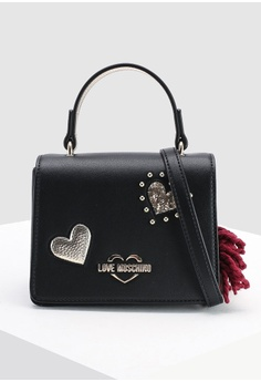 a8d700ecc2e1 Love Moschino black Textured Grain Top-Handle Bag E1333AC109F763GS 1