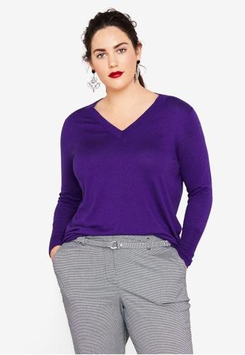 Violeta by MANGO purple Plus Size Fine-Knit Sweater BF459AA55086E8GS_1