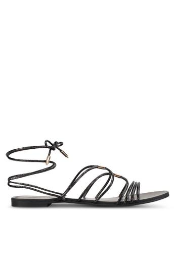 ZALORA black Lace Up Flat Sandals 247F1SH5D1A81EGS_1