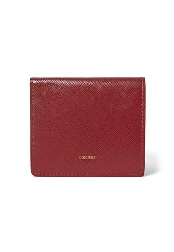 Crudo Leather Craft red Lucidato Compact Wallet - Saffiano Wine Red E9F28ACBE105E4GS_1