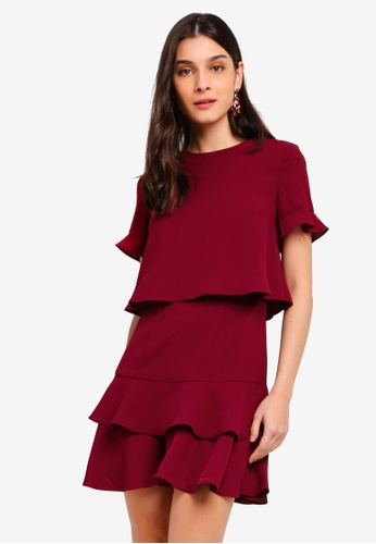 ZALORA red Fit And Flare Layered Dress 32107AABB342EAGS_1