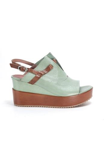 Shu Talk 綠色 70年代時尚大熱復古漆皮厚底鬆糕涼鞋 3FE72SH2DA3209GS_1