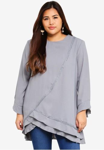 BYN grey Plus Size Muslimah Blouse 98048AA246297DGS_1