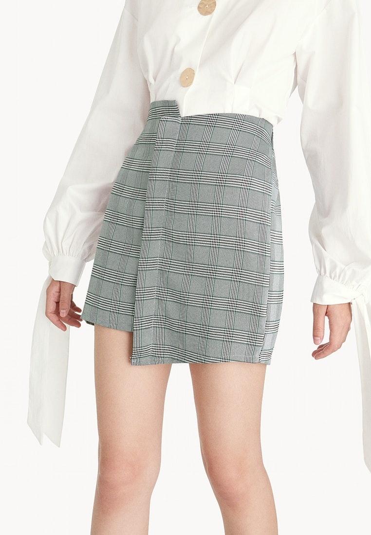 green mini skirt gray glen asymmetric pomelo plaid wsnq4hcp. Black Bedroom Furniture Sets. Home Design Ideas