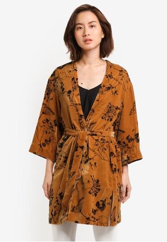 Selected Femme brown Famita Velvet Kimono Cardigan SE157AA0RMCOMY_1