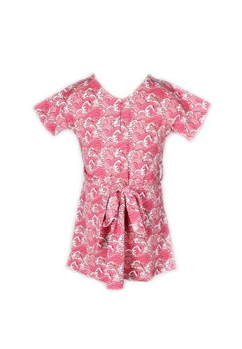 Mini Moley pink Japanese Wave Print Girl's Flare Dress 46A3AKA0B6D6D7GS_1