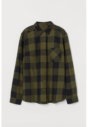 H&M green Cotton shirt F2A41AAC3B757DGS_1