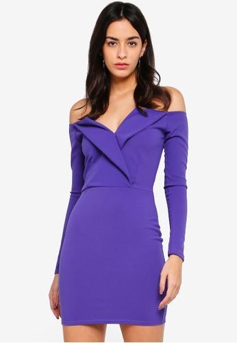 MISSGUIDED blue Bardot Foldover Bodycon Dress 3B4D4AACC6749EGS 1 3acc45f65
