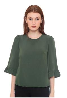 57f5c7588d06c The Executive green Basic Long Sleeve Blouse 05E98AA5B64166GS 1
