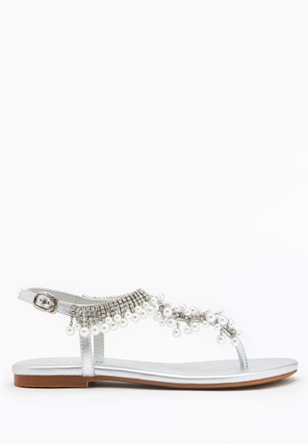 PAZZION silver Embellished T-strap Sandals 6BE4DSHCD95E19GS_1