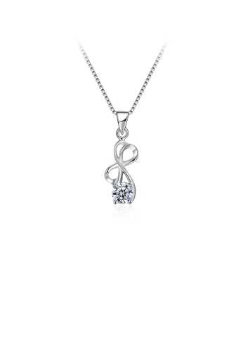 Glamorousky white 925 Sterling Silver Simple Fashion Geometric Cubic Zircon Pendant with Necklace 294CAACC926DB2GS_1