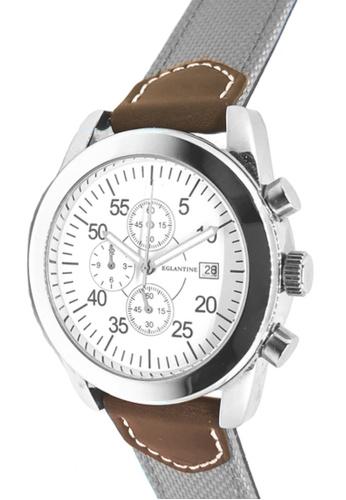 EGLANTINE silver EGLANTINE® Aviator II Unisex Stainless Steel Quartz Chrono Watch White Dial on Grey Textile and Brown Leather strap CA439ACC54612EGS_1