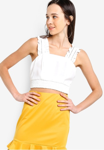 Something Borrowed 白色 Ruffled Strap Smocked Crop Top 743BCAA0A6F941GS_1