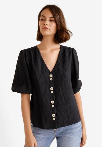 Mango black Buttoned Textured Blouse D5EC4AA3D27EA1GS_1