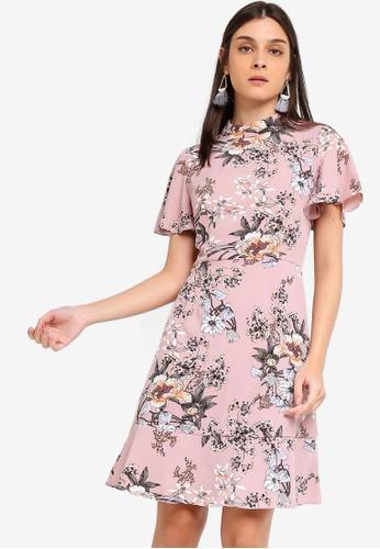 ZALORA 粉紅色 and 多色 High Neck Short Sleeves Dress FF0A1AA031D6D4GS_1