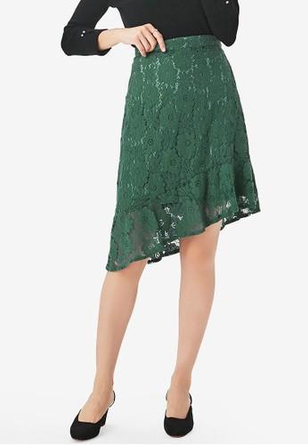 Yoco green Lace Slanted Hem Skirt 5AFECAA507128BGS_1