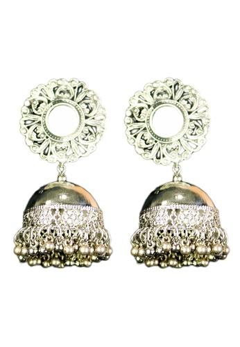 Zaryluq silver Jhumka Earrings 98E89AC9FAE15DGS_1