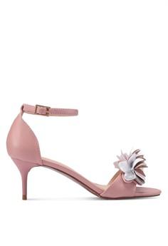 Velvet pink and multi Flower Embellished Ankle Strap Heels  C163FSH497CE90GS 1 af99a3a6f2
