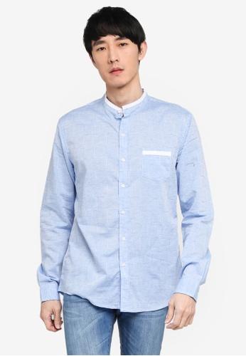 Fidelio blue Mandarin Collar Checkered Long Sleeve Shirt EB53FAA1EEC511GS_1