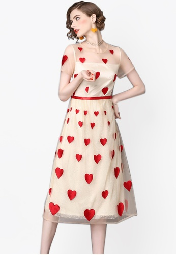 Sunnydaysweety beige Summer New Heart - Shaped Print Short - Sleeved One Piece Dress CA062790-0 66A2BAA845554FGS_1