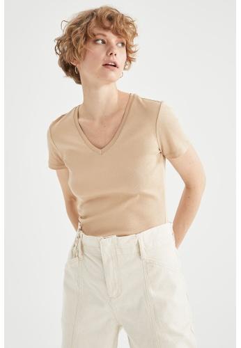 DeFacto brown Short Sleeve V-Neck Cotton T-Shirt E8EF9AA7306EB0GS_1