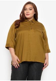 0c84e45840c Plus Size Shirt Blouse Quarter Sleeves Linen 8A823AA0EB3D02GS 1