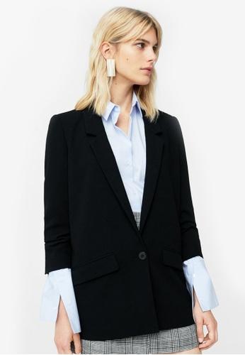 Mango black Ruched Sleeves Blazer MA193AA0ROP3MY_1