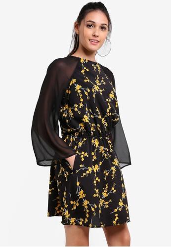 Something Borrowed black Sheer Sleeve Printed Dress 85763AA81D48FEGS_1