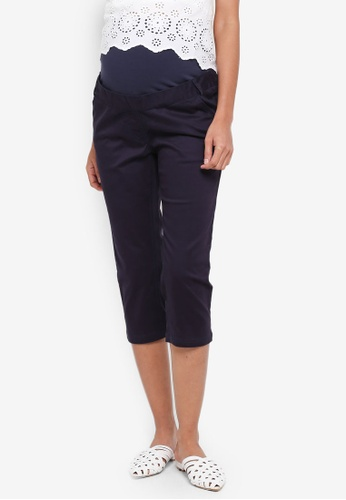 JoJo Maman Bébé navy Maternity Cropped Trousers FF481AAE33BBDEGS_1