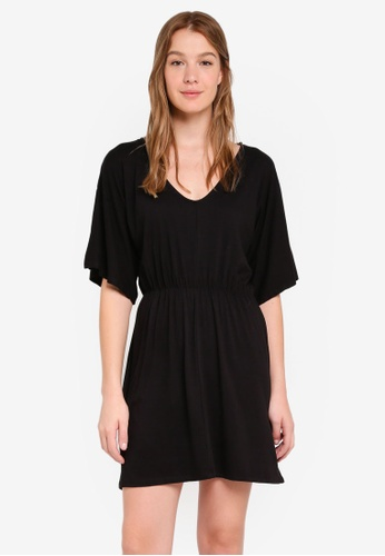 Cotton On black Reina V Neck Fit Flare Dress 143D6AA9DB79BAGS_1