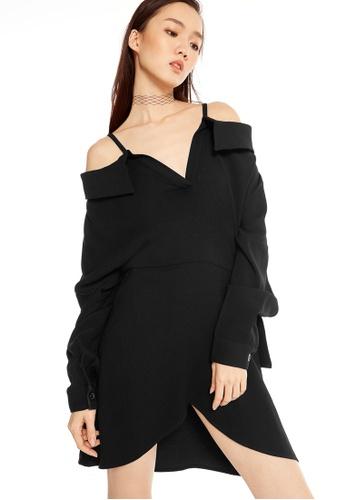 Pomelo black Zillia Off Shoulder Shirt Dress CBBFAAABC45D6FGS_1