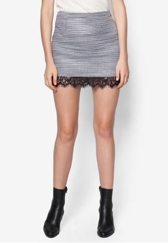 蕾絲拼接暗紋zalora退貨短裙, 服飾, 上衣