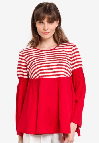 Aqeela Muslimah Wear red Lace Peplum Top 905EFAADBC8CCDGS_1