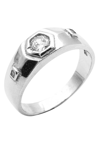 Elfi silver Elfi 925 Genuine Silver Engagement Ring R34 - The Stylish Hex EL186AC66FORMY_1