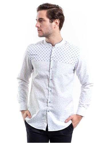 MANLY blue MANLY Simonov Blue Slim Fit Collar Shanghai Combination Shirt 56CE1AA065DCF0GS_1