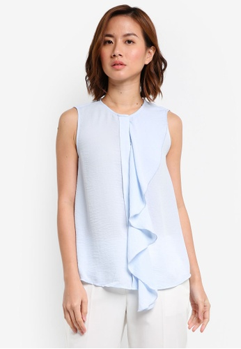 ZALORA blue Front Ruffle Detail Top 319AEAAAF38070GS_1