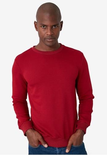 Trendyol red Long Sleeve Crew Neck Sweatshirt 2F045AA0F1ED72GS_1