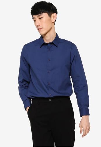 ZALORA BASICS navy Regular Fit Work Shirt 3E07CAA47EBEB2GS_1