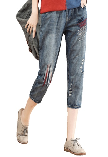 A-IN GIRLS blue Jeans With Embroidered Elastic Waist B9FF1AA9A24B02GS_1
