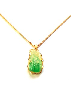 Feng Shui Stainless Steel Pi Yao Money Catcher Jade Necklace
