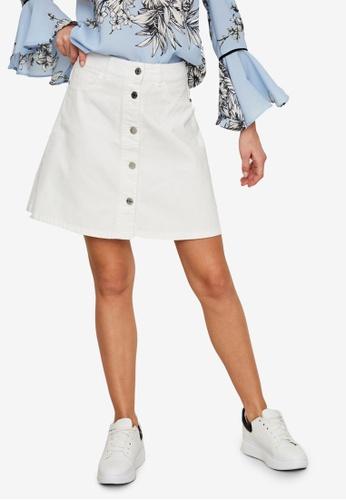 Noisy May white Sunny Short Denim Skater Skirt 270CAAA593298AGS_1