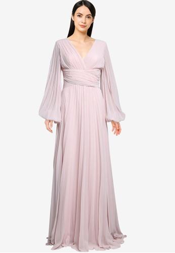 Goddiva pink Balloon Sleeve Maxi Dress 3D1F2AA7CBC134GS_1