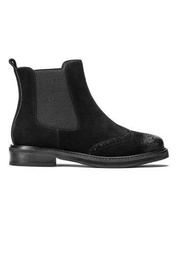 Byford black Lance Suede Brogue Chelsea Boots 1E46ESH0BD69EEGS_1