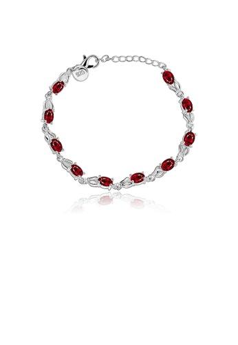 Glamorousky red Fashion Minimalist Oval Bracelet with Red Austrian Element Crystal B40ADACD4C4236GS_1