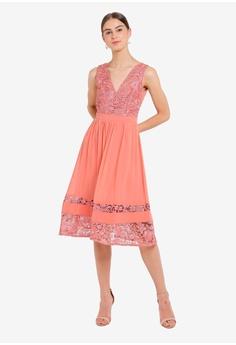 29aa3b32701 30% OFF Little Mistress Pink Crochet Midi Dress RM 469.00 NOW RM 327.90  Sizes 6 8 10 12 14