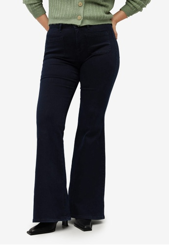 Violeta by MANGO blue Plus Size Flared Jeans With Pocket E080DAAFD77671GS_1