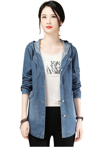 A-IN GIRLS blue Fashion Embroidered Hooded Denim Jacket 38891AA30C5F49GS_1