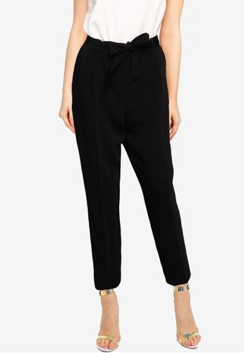 Forever New black Sadie Tie Waist Slim Pants AA146AA279BCC8GS_1