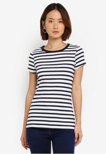 Dorothy Perkins white Stripe T-Shirt 1DB1BAA42A3FE5GS_1